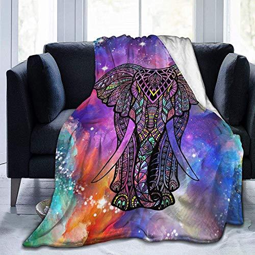 KINGAM Manta de elefante de girasol, manta de forro polar súper suave, acogedora y reversible, tamaño para bebé y adultos, sofá de 150 x 150 cm, diseño de mandala de elefante, 1 unidad