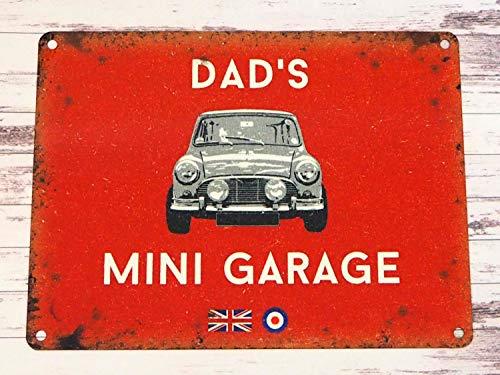 Xuanwuyi Red Dads Mini Garage Tin Sign - Austin BMC Cooper Classic Car Gift - Retro Petrolhead Gift Metallschild rustikaler Stil Geschäft dekorative Cooper Oldtimer Geschenk Retro Petrolhead Geschenk