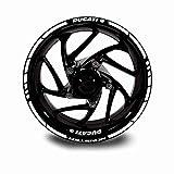 Juego Completo Pegatinas LLANTA para Ducati Monster ADESHIVOS Logos + Marca Ambos Lados Blanco