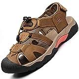 Rokiemen Sandales de Randonnée Homme Été Extérieur Cuir des Sandales Chaussures de Plage Sport Trekking...
