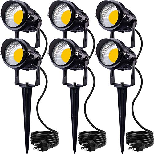 SUNVIE LED Outdoor Spotlight 12W Landscape Lighting 120V AC Waterproof Landscape Lights Spot Lights for Yard with Spiked Stake Warm White Flag Lights...