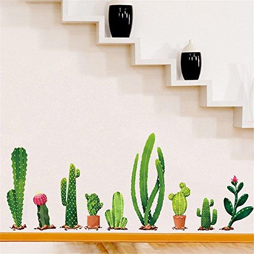 Wall Stickers Cactus Impianto Diy Cameretta Salotto Camera Cucina Adesivi Murali Rimovibile Impermeabile Arte Carta Da Pareti Decorazione Murales,Mamb