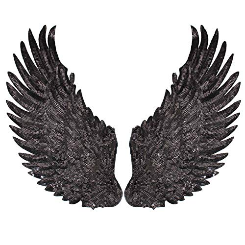 ARTISAN-SH 1 Par de Parches de Alas de ángel Oscuros, Parches de Alas de Moda Parches para Ropa, Parches de Alas Bordados se Pueden Decorar Chaqueta/ Suéter/ Camiseta/ Interior