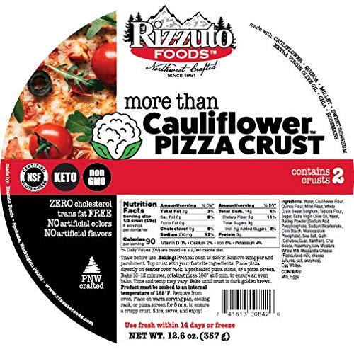 Rizzuto Cauliflower Pizza Crust 10' and 5' Variety Pack, 16 Count, Gluten Free, Low Carb