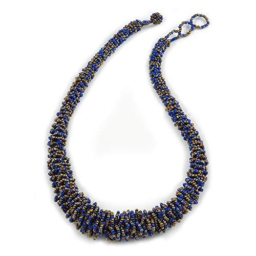 Avalaya Collar de cuentas de cristal graduado grueso en azul eléctrico y bronce, 60 cm de largo