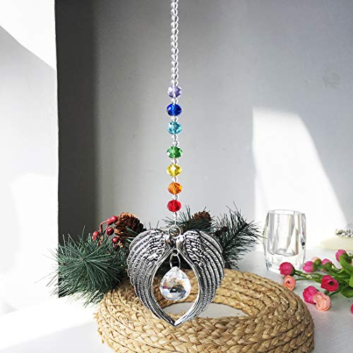 H&D Kristall Regenbogenmacher Sonnenfänger Engelsflügelanhänger mit Chakra-Perlen Hängendes Ballprisma