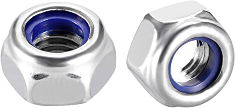 uxcell M6 x 1mm Nylon Insert Hex Lock Nuts, 304 Stainless Steel, Plain Finish, Pack of 10