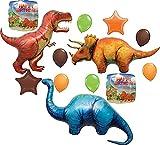 Prehistoric Giant T-REX, Triceratops and Apatosaurus Birthday Dinosaur Balloon Decoration 11 pc Kit