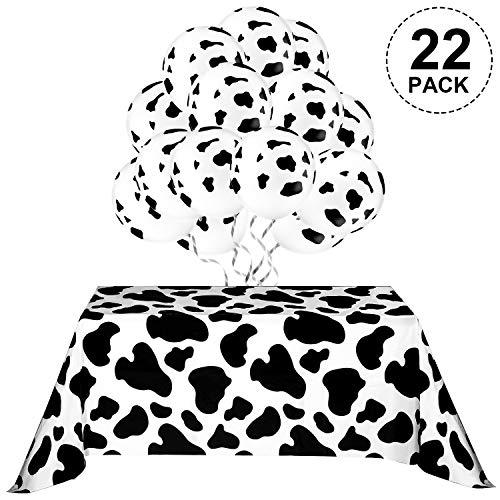 Blulu Kuh Tischdecke für Party, Enthalten 2 Stück Tischdecken, 20 Stück Kuh Luftballons und 10m Weißes Band Party Picknick Zubehör (Kuh Drucken Kuh Muster)