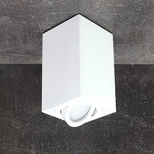 JVS Aufbauleuchte Aufbaustrahler Deckenleuchte Aufputz Led MILANO -LANG- GU10 Fassung 230V Eckig Weiss schwenkbar Deckenleuchte Strahler Deckenlampe Aufbau-lampe CUBE Downlight aus Aluminium