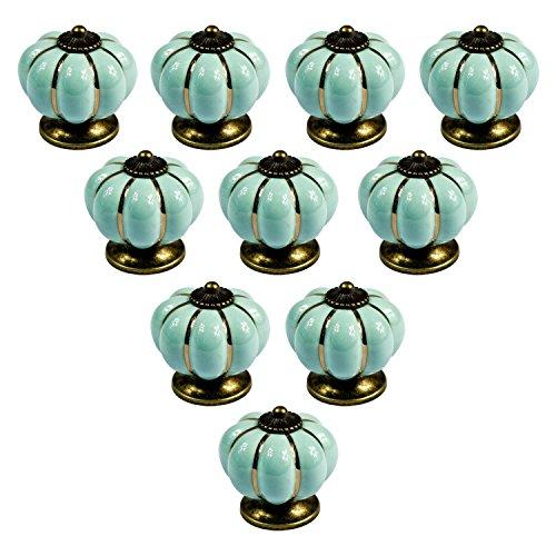 PsmGoods® - Perilla estilo europeo vintage de cerámica con forma de calabaza para puerta, cajón, aparador de cocina, armario, alacena, 10unidades, Light Blue