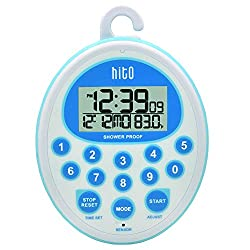 HITO Splash-Proof Shower Clock Timer with Date Indoor Temperature for Bathroom Kitchen Cooking (Blue)