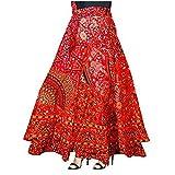 Sai Fashion Falda Boho Multicolor, Falda Cruzada, Falda Gitana India, Falda Maxi Bohemia Mandala Falda de algodón Hippie Falda Floral