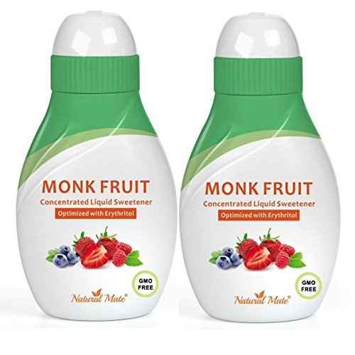 Monk Fruit Concentrated Liquid Sweetener (Optimized with Erythritol) 1.33 FL OZ (37 mL)  2 Pack
