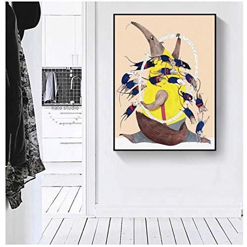 Zhaoyangeng Oso Hormiguero Y Ratones Dibujos Animados Nórdicos Lienzo Abstracto Niños Habitación Arte De La Pared Póster E Impresiones- 40X60Cm Sin Marco