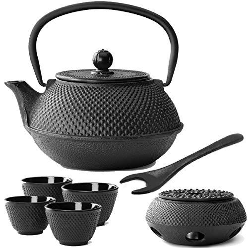 Bredemeijer kleine zwarte Aziatische theepot set 0,8 L gietijzer met thee-filterzeef theebekers (4 kopjes) & deksellifter