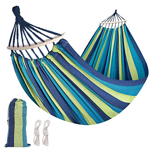 WBHome Brazilian Hammock with Hanging Kits, Tree Hammock for Indoor Outdoor Patio Porch Backyard Camping, Cotton Canvas Carrying Bag, Ropes and Carabiners Included (Blue/Green Stripe)