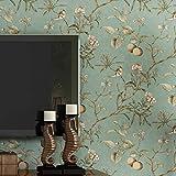 KAIRRY Wand Vintage Flower Bäume Vögel Tapete für Wohnzimmer Schlafzimmer Küche,0.53M*10M (Color...