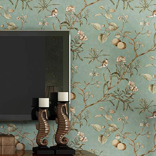 KAIRRY Wand Vintage Flower Bäume Vögel Tapete für Wohnzimmer Schlafzimmer Küche,0.53M*10M (Color : Light Blue)
