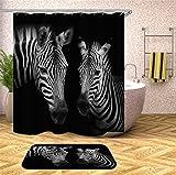 Fansu Duschvorhang Wasserdicht Anti-Schimmel Anti-Bakteriell, 3D Drucken 100prozent Polyester Bad Vorhang für Badzimmer mit C-Form Kunststoff Haken (Zebra,90x180cm)