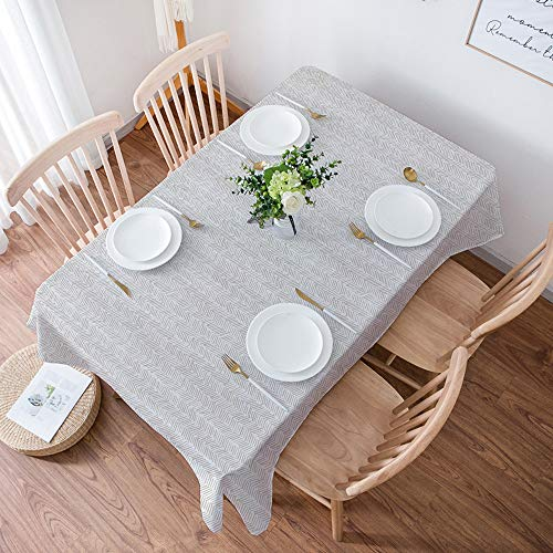 Tischdecke Rechteckige,Tischdecken Baumwolle Leinen,Herringbone, vertikale Grenzen mit Chevron-Dreiecken handgez, Tischschutz, 140x200 cm, wasserdicht, ölbeständig, rutschfest, Kratzfest, pflegeleicht