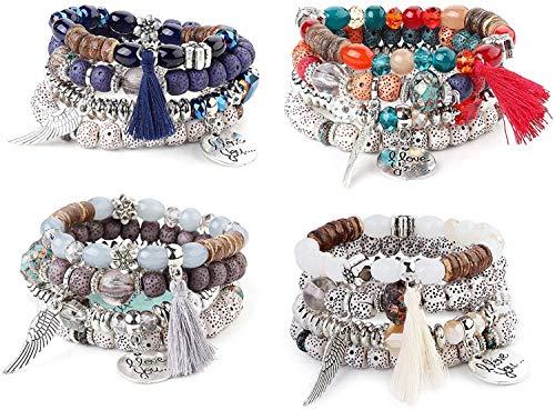 Finrezio 4 Ensembles Bracelets Perles Bohême pour Femmes Filles Lot Bracelet Coeur Multicolore Extensible Empire Aile De Pompon Bijoux Multicolores