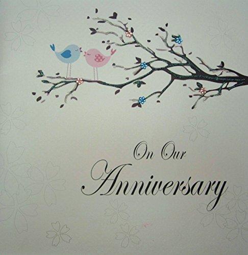 witte katoenen kaarten op onze handgemaakte grote verjaardagskaart, code XPD78-OUR (Love Birds)