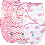 Baby Swaddle Blanket Wrap for Newborn & Infant, 0-3 Months 100% Breathable Cotton Swaddlers Sleep Sack with Adjustable Wings, 3 Pack Swaddling Blankets for Girls (Rose)