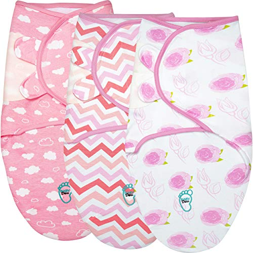 Baby Swaddle Blanket Wrap for Newborn amp Infant 03 Months 100% Breathable Cotton Swaddlers Sleep Sack with Adjustable Wings 3 Pack Swaddling Blankets for Girls Rose