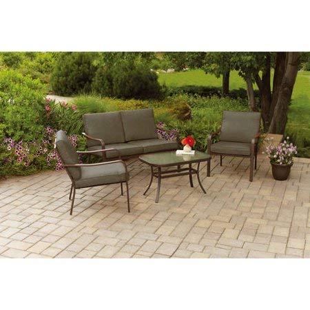 Mainstays Stanton 4-Piece Patio Furniture Conversation Set, Brown, Metal