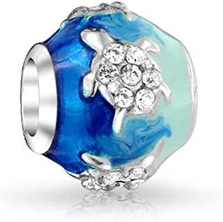 Nautical Sea Turtle Blue Wave 925 Sterling Silver Core Spacer Bead Fits European Charm Bracelet For Women For Teen