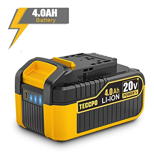 TECCPO 20V MAX 4.0 Ah Lithium Ion Large Capacity Battery-Pack, Rechargeable Replacement Battery, for All 20V TECCPO/POPOMAN Cordless Power Tools