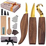 JIWAH Wood Carving Tools Kit-14Pcs Wood Carving Kit with Hook Knife, Sloyd Knife, Detail Whittling Knife-Wood Carving Set in a Designed Gift Box-Easy to Use Whittling Kit for Beginners-Woodworking Kit