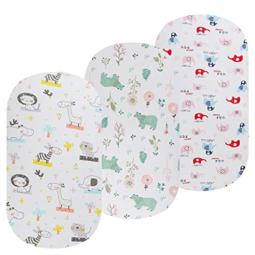 Onacosht Bassinet Sheet Set 3 Pack 100% Jersey Cotton for Baby Boy/Girl, Soft Breathable 195 GSM Fitted Sheets Flexible for Most Bassinet Mattress, Elephant, Giraffe, Cat, Bear and Flower Pattern