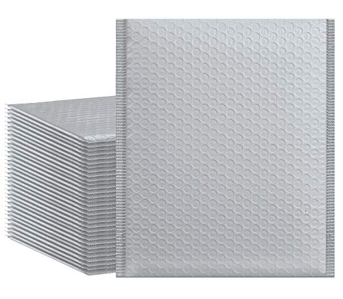 HBlife 8.5x12 Inches Poly Bubble Mailers Self Seal Gray Padded Envelopes, Pack of 25