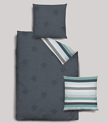 Dormisette Biber Bettwäsche 2 teilig Bettbezug 135 x 200 cm Kopfkissenbezug 80 x 80 cm Sterne anthrazit gestreift
