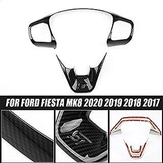 KKJLXX Auto Lenkrad Trim Stlye ST for Ford Fiesta MK8 ABS Carbon Faser Abdeckung Styling 2020 2019 2018 2017 Steuerknopf Rahmen Auto innen zubehör
