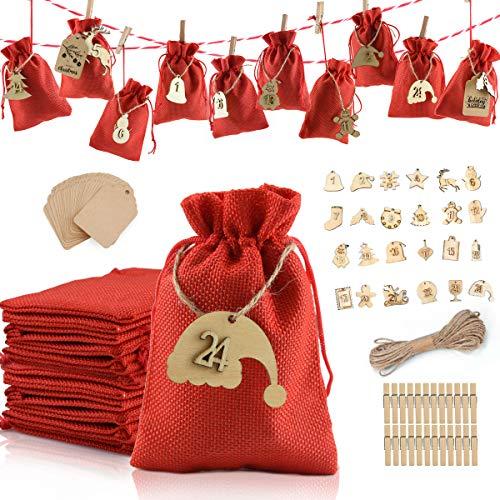 Laffity Adventskalender zum Befüllen, 24 Geschenksäckchen, 1-24 Adventskalender Zahlen Holz Deko, Weihnachtskalender Geschenksäckchen zum Befüllen(Rot)