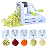cucumber pasta maker - Zalik 5-Blade Spiralizer - Vegetable Spiral Slicer With Powerful Suction Base - Strong & Heavy Duty Veggie Pasta Spaghetti Maker for Low Carb/Paleo/Gluten-Free Meals With Extra Blade Storage Caddy