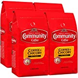 Community Coffee and Chicory Medium Dark Roast Premium Ground 32 Oz Bag (4 Pack), Full Body Rich Flavorful Taste, 100% Select Arabica Beans