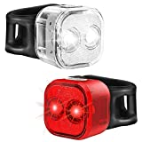 USB Rechargeable Bike Light Set, Bicycle Front Headlight and Rear LED Light, 6+4 Light Modes and Long Battery Life
