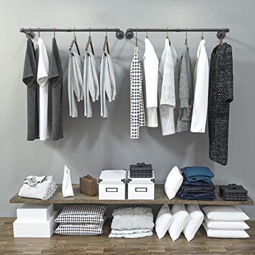 Perchero para ropa de tubería, pared, techo, industrial, desmontable, hierro negro, barra de ropa, barra para colgar de metal resistente, almacenamiento en armario y organización de lavandería