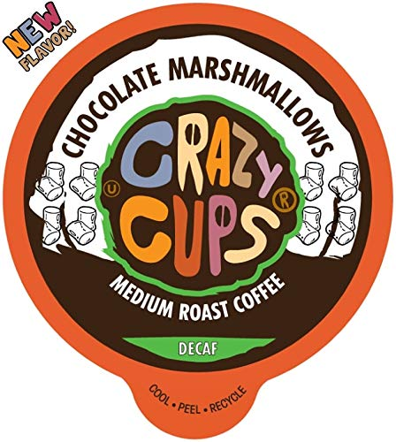 Crazy Cups Flavored Single-Serve Coffee for Keurig K-Cups Machines, Decaf Chocolate Marshmallows, 22 Pods per Box