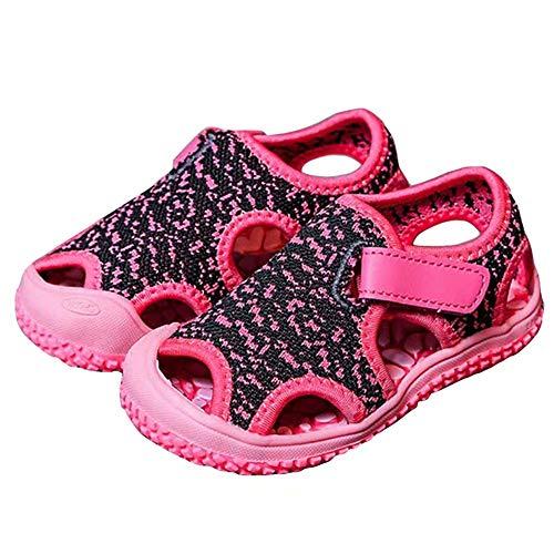 SandalenKinder Sommer Schuhe Jungen Mädchen SandalenAntiRutsch Atmungsaktiv Wandern Baby SandalenHalboffene Outdoor Strand Pink Violett Blau Grau Grün EU 21-31 Pink2 24