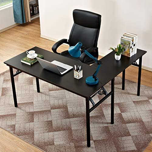 """Need 55"""" x 55"""" L-Shaped Folding Computer Desk, One-Step Assembly — Large L Desk Home Office Desk Workstation Desk, Black AC11CB"""