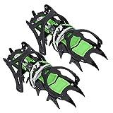 FOLOSAFENAR Empuñaduras Antideslizantes de Acero Inoxidable 14 Dientes Crampones para Hielo Tacos para Hielo Picos Antideslizantes Durables para Hombres Zapatos Botas para Senderismo Pesca Caminar
