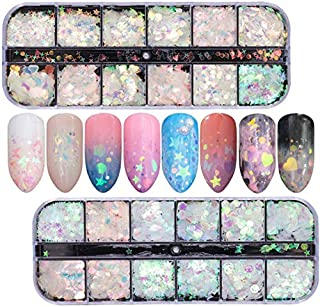 2 Boxes Holographic Laser Nail Art Sequins Iridescent Mermaid Nail Flakes Beauties Factory Butterfly Star Heart Round Shap...