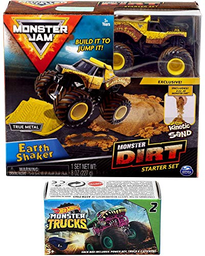 Hot Wheels Shaker Dirt Truck Crew Monster Jam Earth Construction Kit Action 2019 Jump Sand Bundled Blind Box Series Mini Monster Truck with Launcher