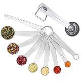 THETAG Juego de cucharas medidoras, cucharas medidoras, de acero inoxidable, con báscula para medir raciones en seco, aptas para máquinas de sacudir, buena herramienta de cocina (8 unidades)