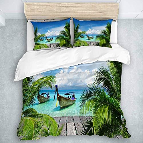 Bettbezug Set, Strand und tropisches Meer Holzdeck Schwimmboote Sunshine Honeypot, Bedruckte Bettwäsche Bettbezug 3 Stück